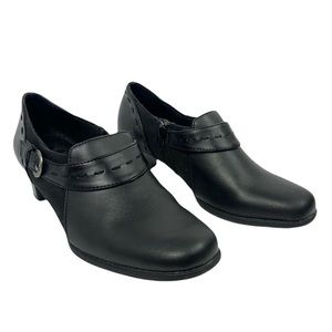 Dr. Scholl's Chip Black Leather Heeled Shoes 8.5W